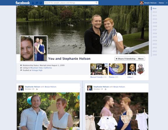 Pagina dell'amicizia su Facebook con lo stile del diario timeline