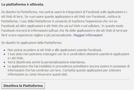 disattiva piattaforma facebook
