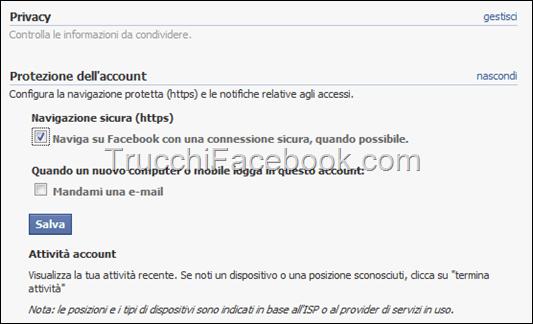 Come attivare la connessione criptata su Facebook