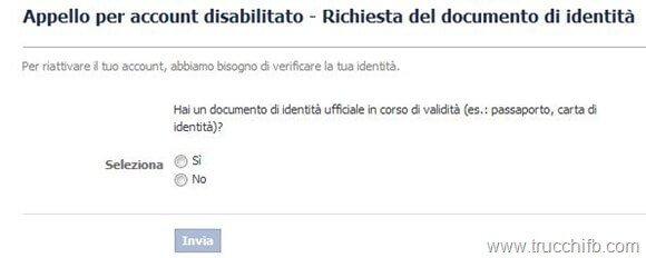 account disabilitato documento