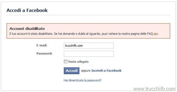 account disabilitato