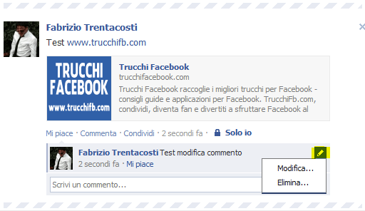 come modificare un commento su Facebook