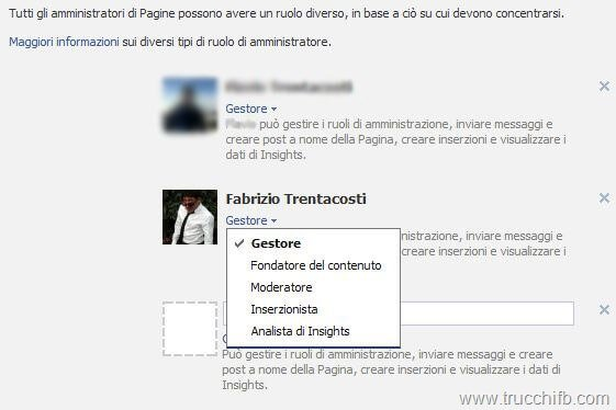 tipi amministratore Facebook