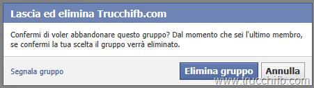 elimina gruppo facebook