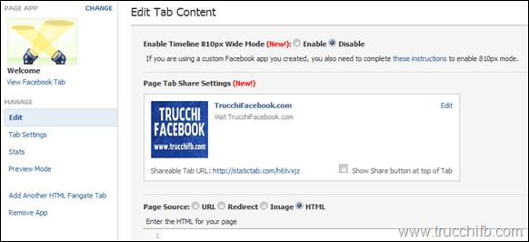 personalizza tab facebook