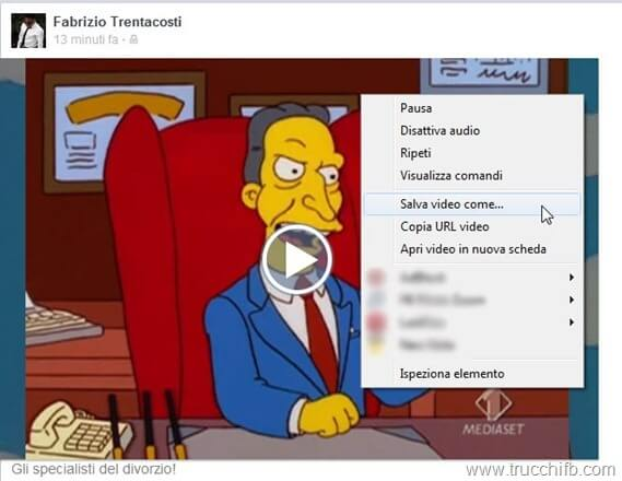 Video Facebook, salva con nome