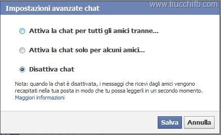 disattiva chat facebook