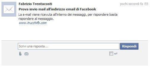 email inviata su Facebook