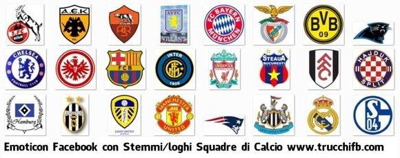 Emoticon grandi per Facebook con loghi e stemmi di Squadre di Calcio
