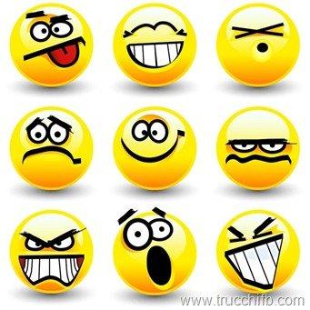 Lista di emoticon per Facebook gialle e grandi