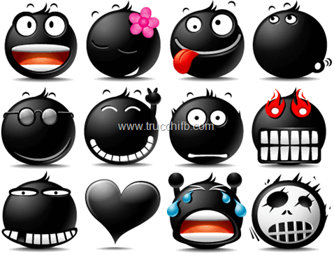 Faccine ed emoticon nere per Facebook