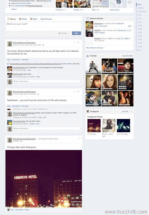 nuova versione diario Facebook