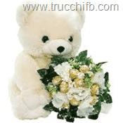 orsacchiotto con bouquet di fiori