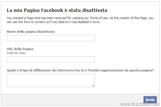 pagina facebook disattivata