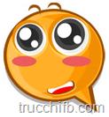 Emoticon con guance arrossate e occhi grandi e luccicanti.