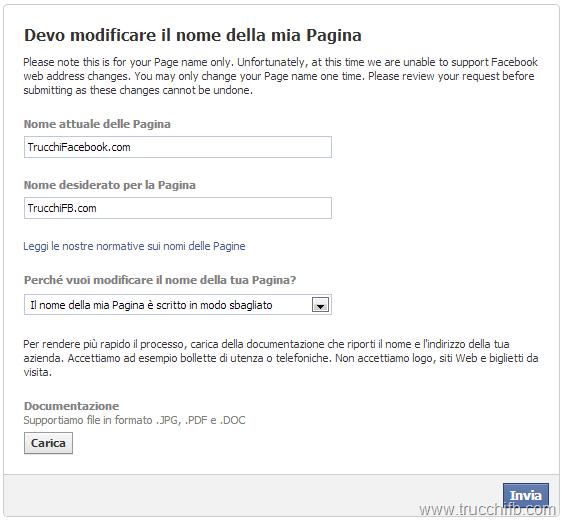 Modulo per modifica nome pagina Facebook
