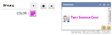 dimensione stile colore testo chat facebook