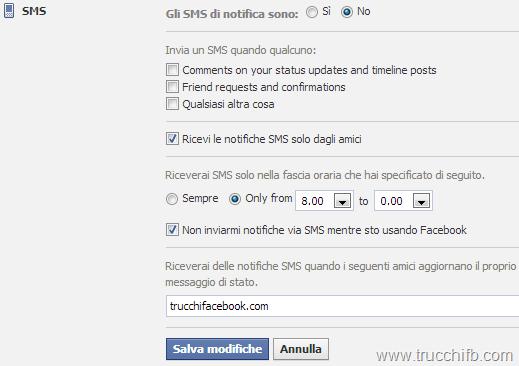 impostazioni notifiche SMS facebook