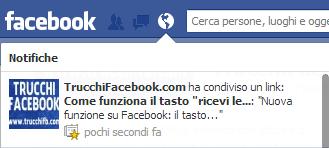 notifica pagina facebook