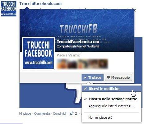 Nuovo tasto/funzione ricevi le notifiche su Facebook