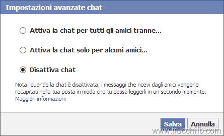 impostazioni chat Facebook