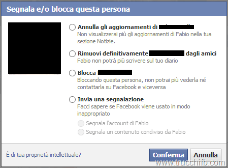 Segnala o blocca utente Facebook