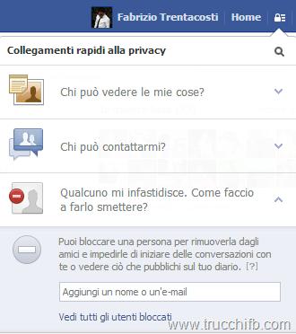 blocca utente facebook 2013