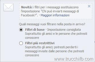 filtri messaggi facebook