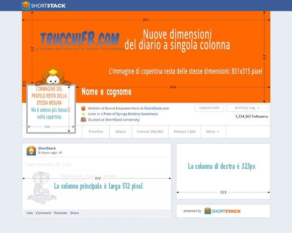 Nuove dimensioni diario Facebook 2013