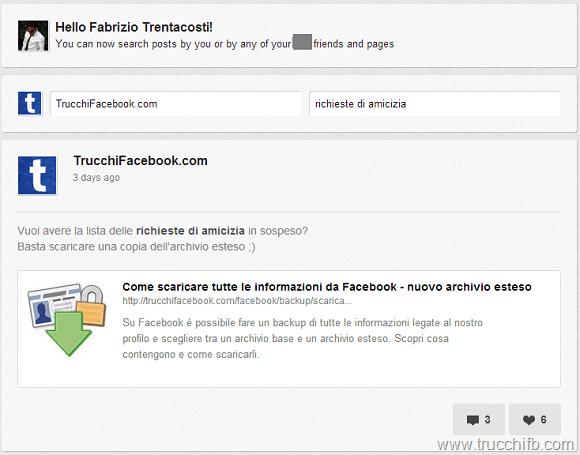 ricerca contenuti facebook