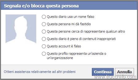 segnala account Facebook
