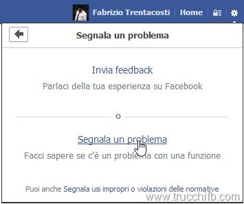 segnala problema che riguarda facebook