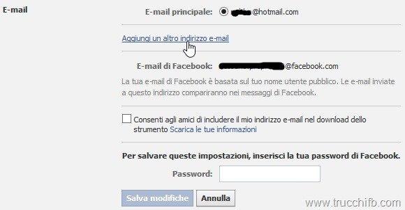 aggiungi email facebook