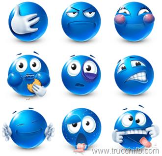 Lista di faccine blu per Facebook