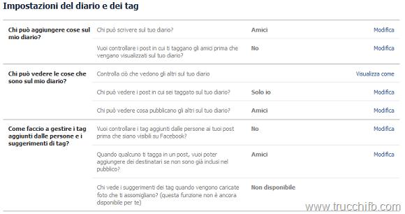 impostazioni del diario e tag
