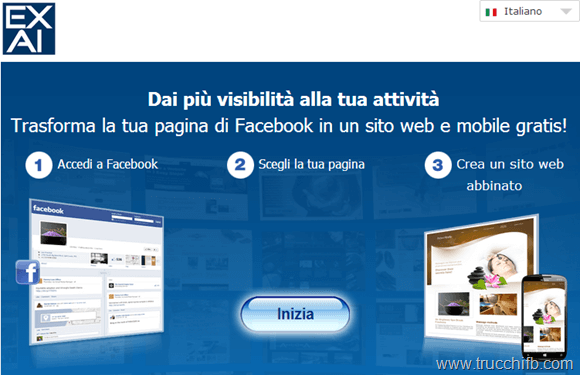 pagina facebook in sito internt
