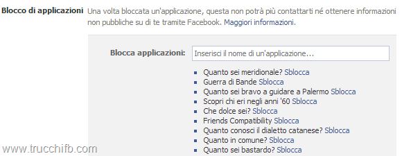blocco applicazioni facebook