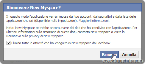 elimina applicazione facebook