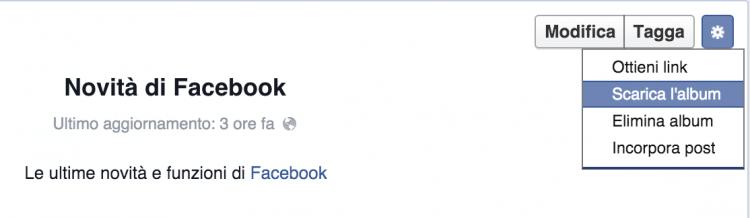 scarica album pagina facebook