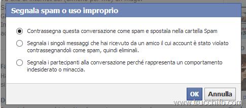 segnala conversazione spam