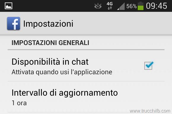 Disponibilità chat facebook Android