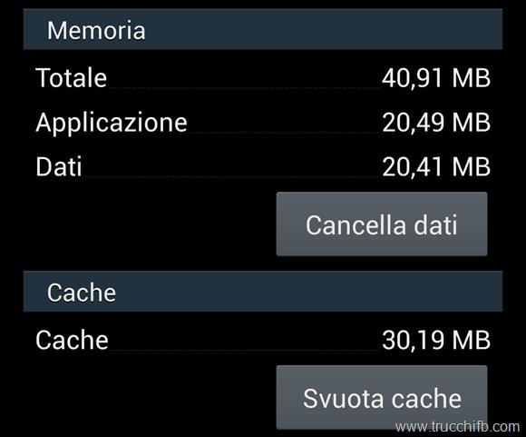 Svuota cache applicazione