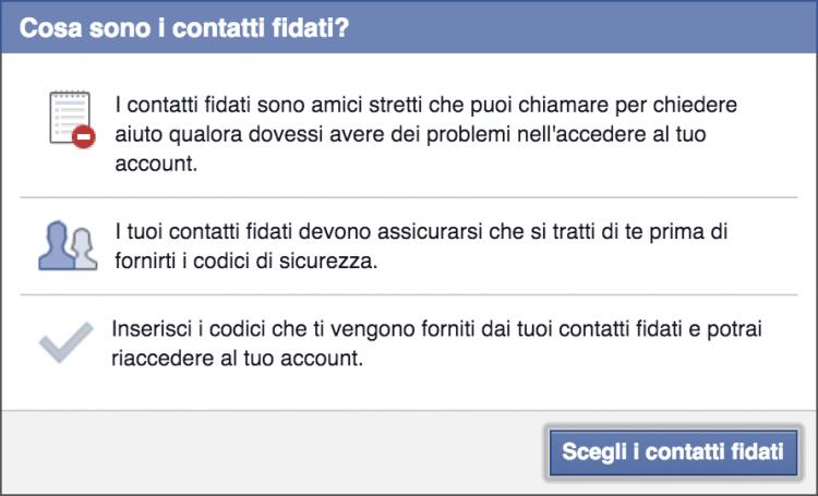 contatti fidati facebook
