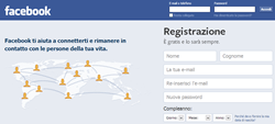 schermata di accesso a Facebook