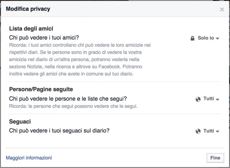 privacy lista amici