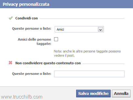 Privacy personalizzata Facebook