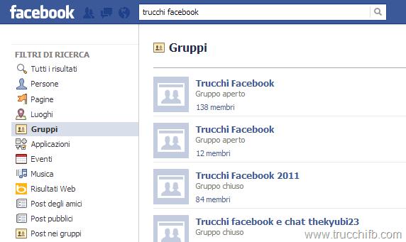cerca gruppi facebook