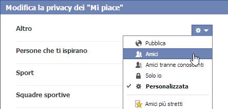 privacy dei mi piace
