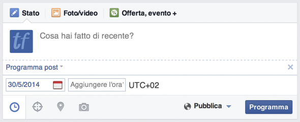 programmare post facebook