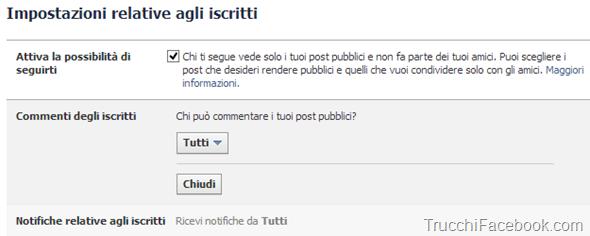 Impostazioni seguaci Facebook